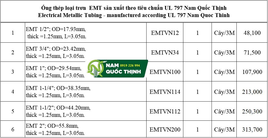 Báo giá ống thép luồn dây điện trơn EMT Nam Quốc Thịnh