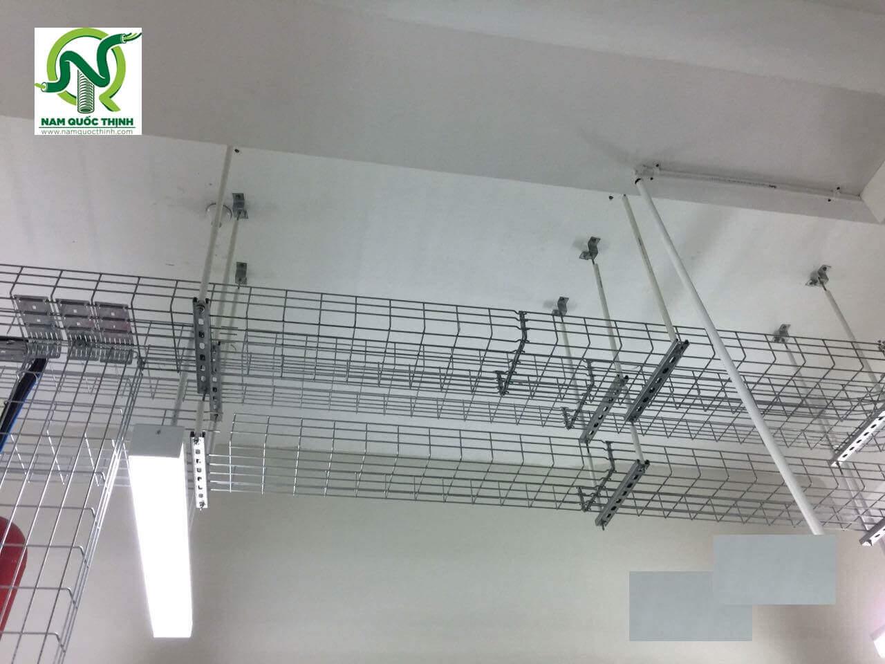 Hệ thống máng cáp dạng lưới inox 304 Nam Quốc Thịnh lắp đặt tại dự án