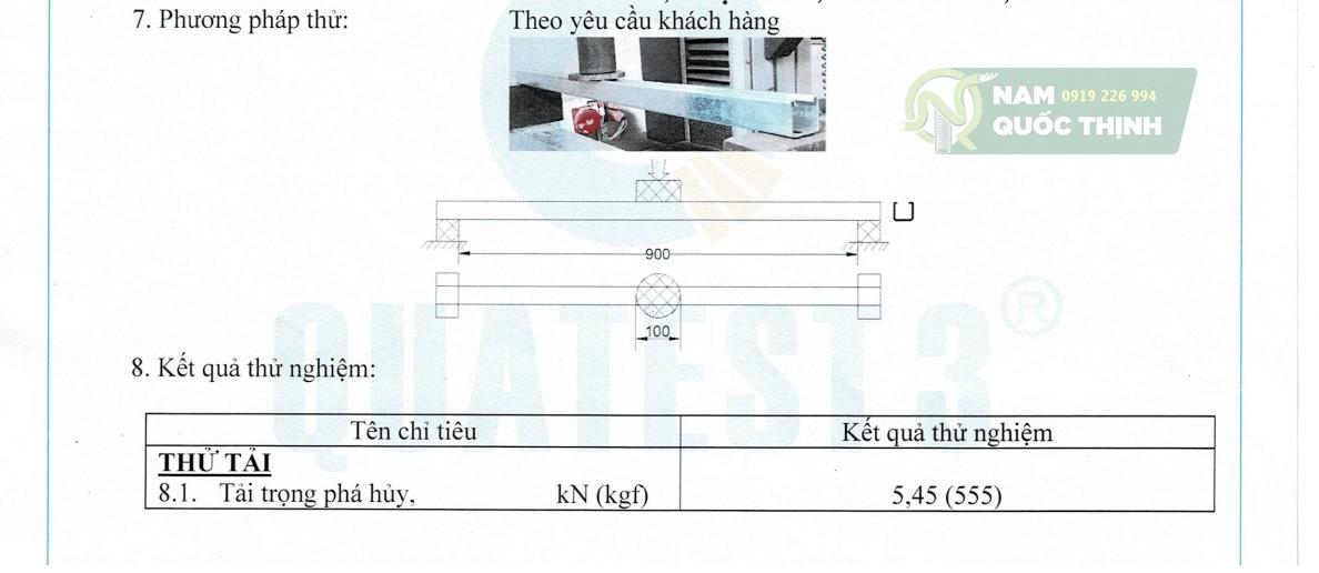 Test Report Nam Quốc Thịnh thanh chống đa năng đột lỗ 41x41