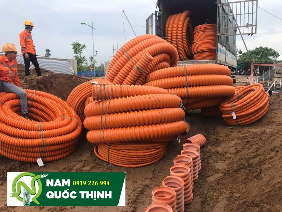 Hình ảnh thi công ống xoắn HDPE tại nhà máy Jabil
