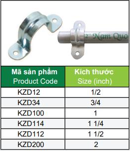 Bảng mã sản phẩm Kẹp Không Đế  ống thép luồn dây điện trơn EMT