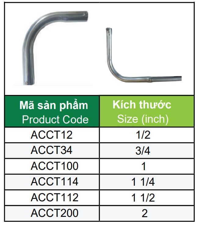 Bảng quy cách co cong trơn ống thép EMT 90 độ