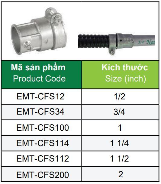 Mã sản phẩm đầu nối ruột gà thép & ống EMT